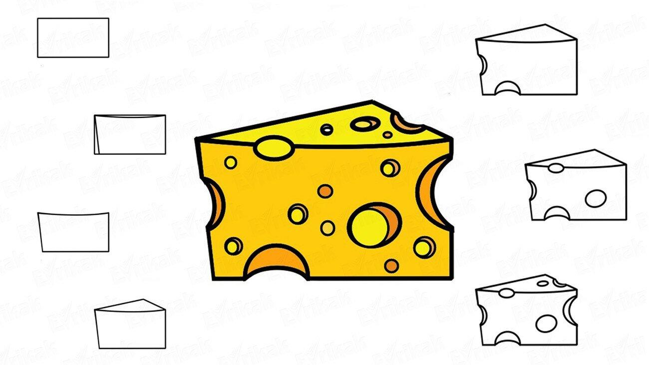 Comment dessiner un morceau de fromage (+ Coloriage)