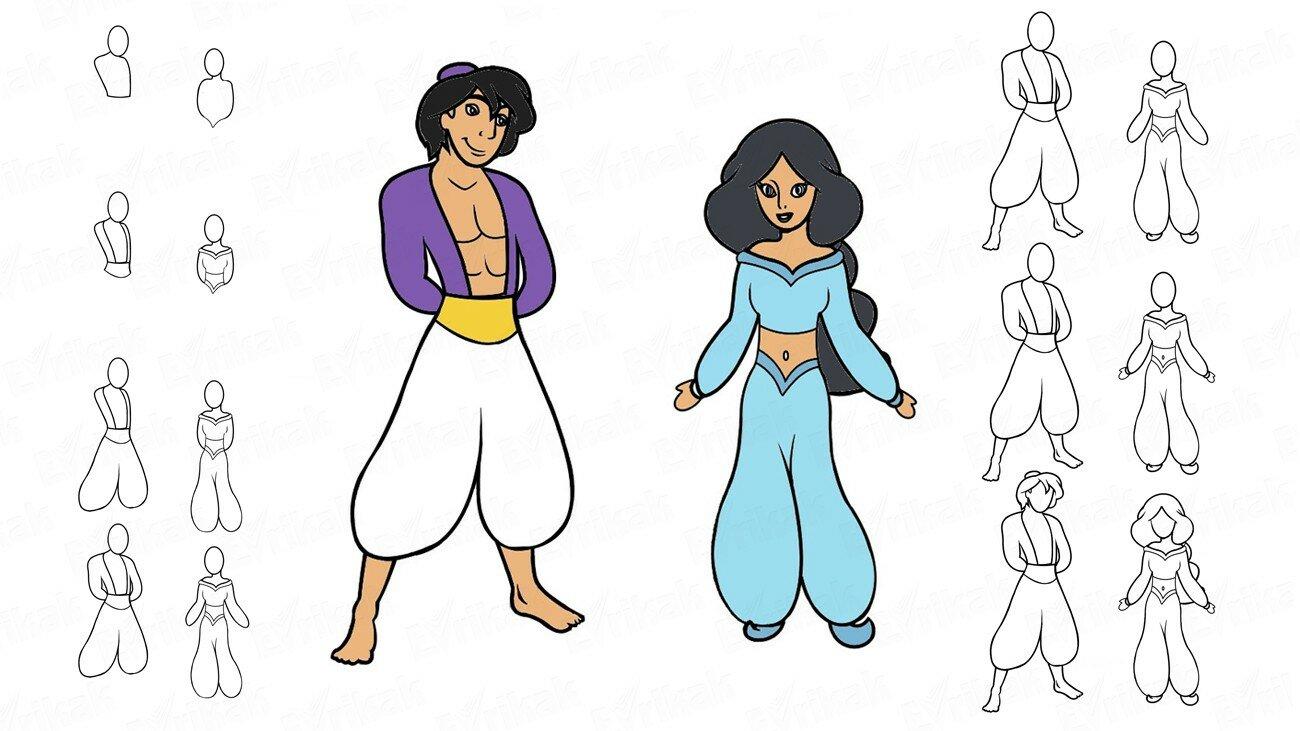 Apprenons à dessiner Aladdin et la princesse Jasmine à partir du dessin animé (+ Coloriage)