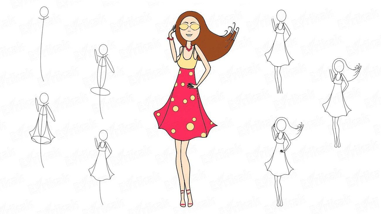 Comment dessiner une fille élégante avec des lunettes (+ Coloriage)