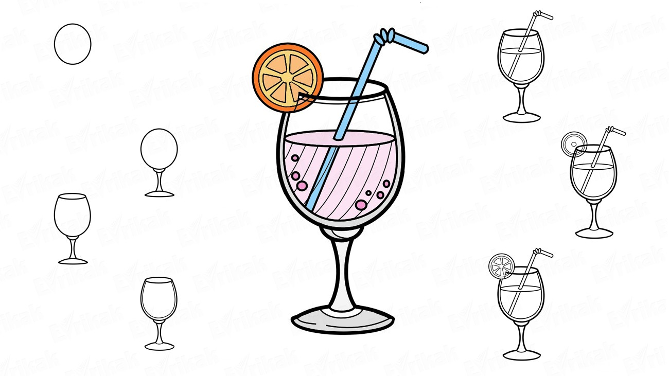 Comment dessiner un cocktail au citron (+ Coloriage)