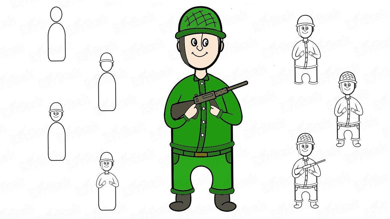 Apprenons à dessiner un soldat militaire par étapes avec une arme automatique (+ Coloriage)