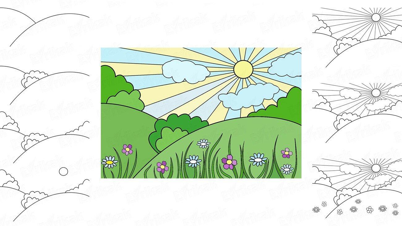 Apprenons à dessiner un paysage de printemps pour les enfants (+ Coloriage)