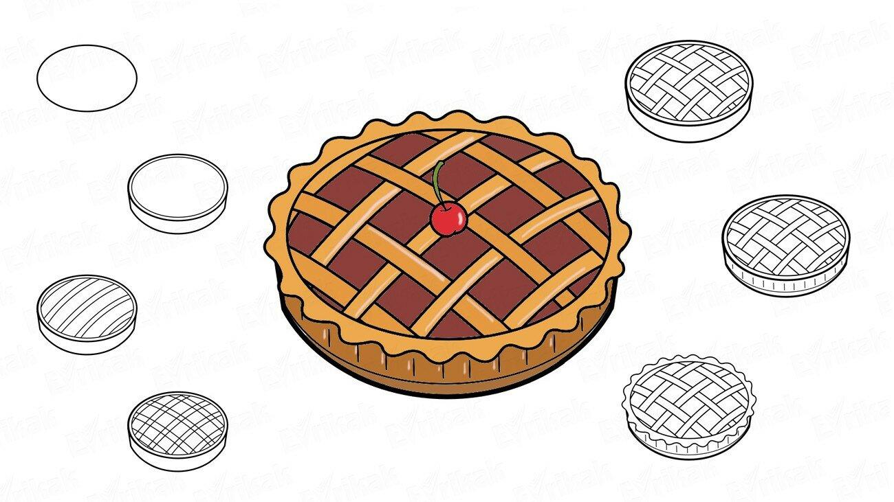 Apprenons à dessiner une tarte aux cerises par étapes avec un enfant (+ Coloriage)