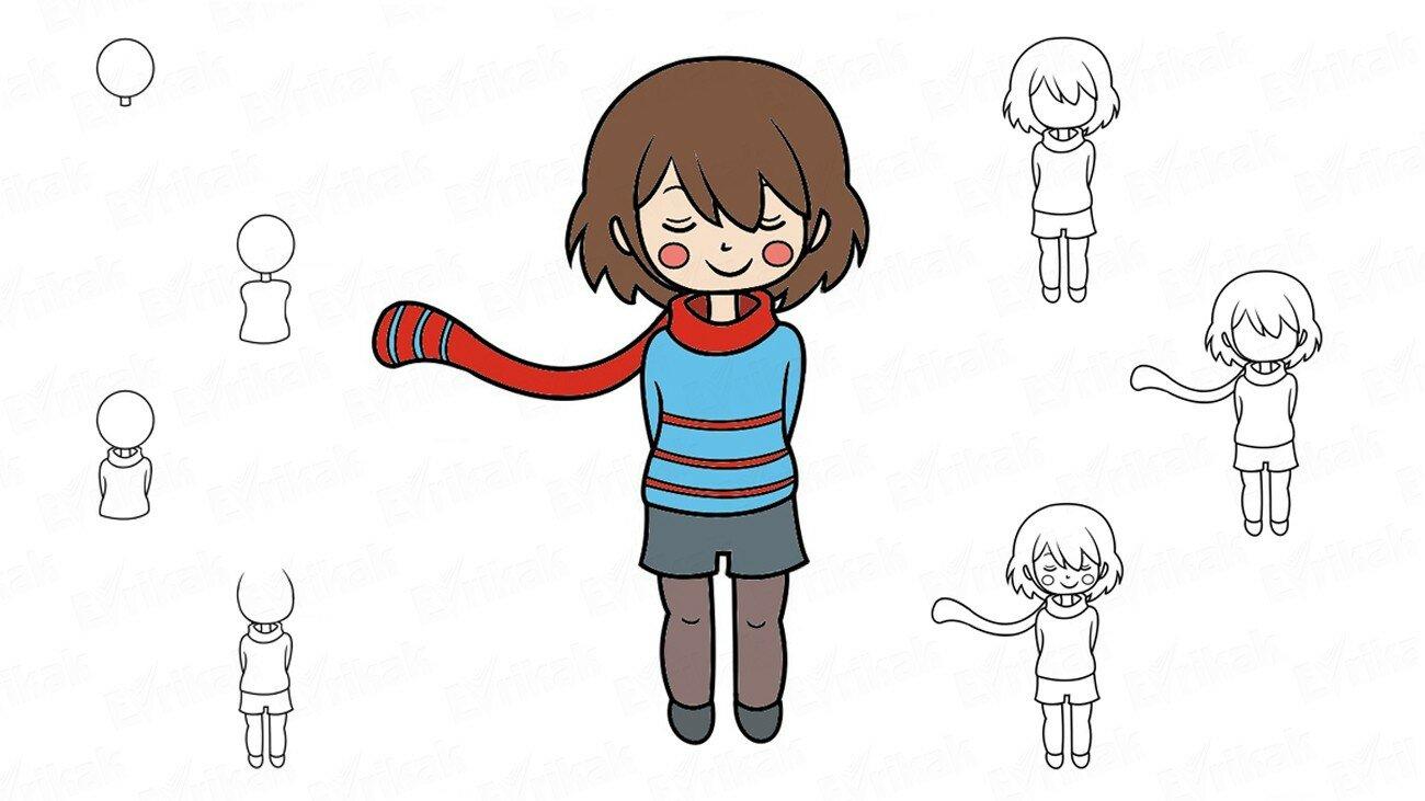 Apprenons à dessiner progressivement Frisk d'Undertail (+ Coloriage)