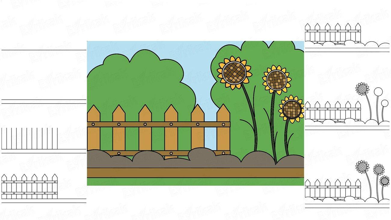 Apprenons à dessiner un beau jardin d'été avec un enfant (+ Coloriage)