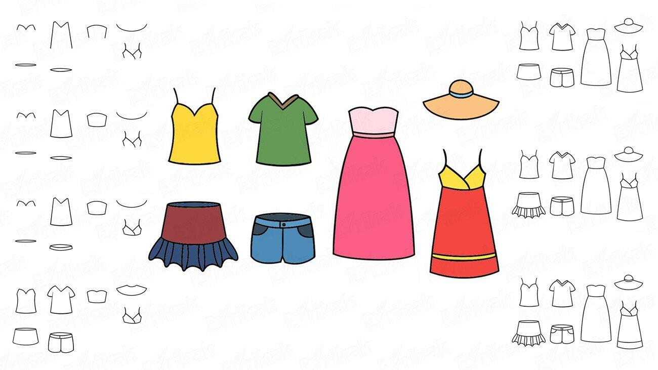 Apprenons à dessiner des vêtements d'été avec un enfant (+ Coloriage)