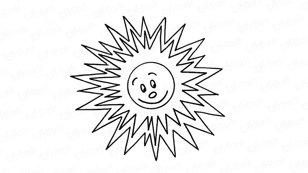 Apprenons à dessiner le soleil avec un sourire et des yeux