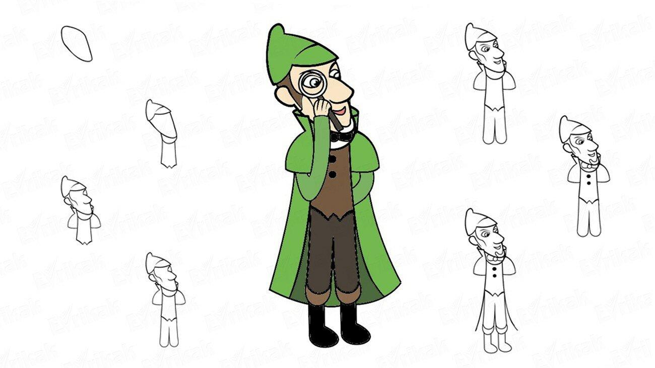 Apprenons à dessiner Sherlock Holmes par étapes (+ Coloriage)