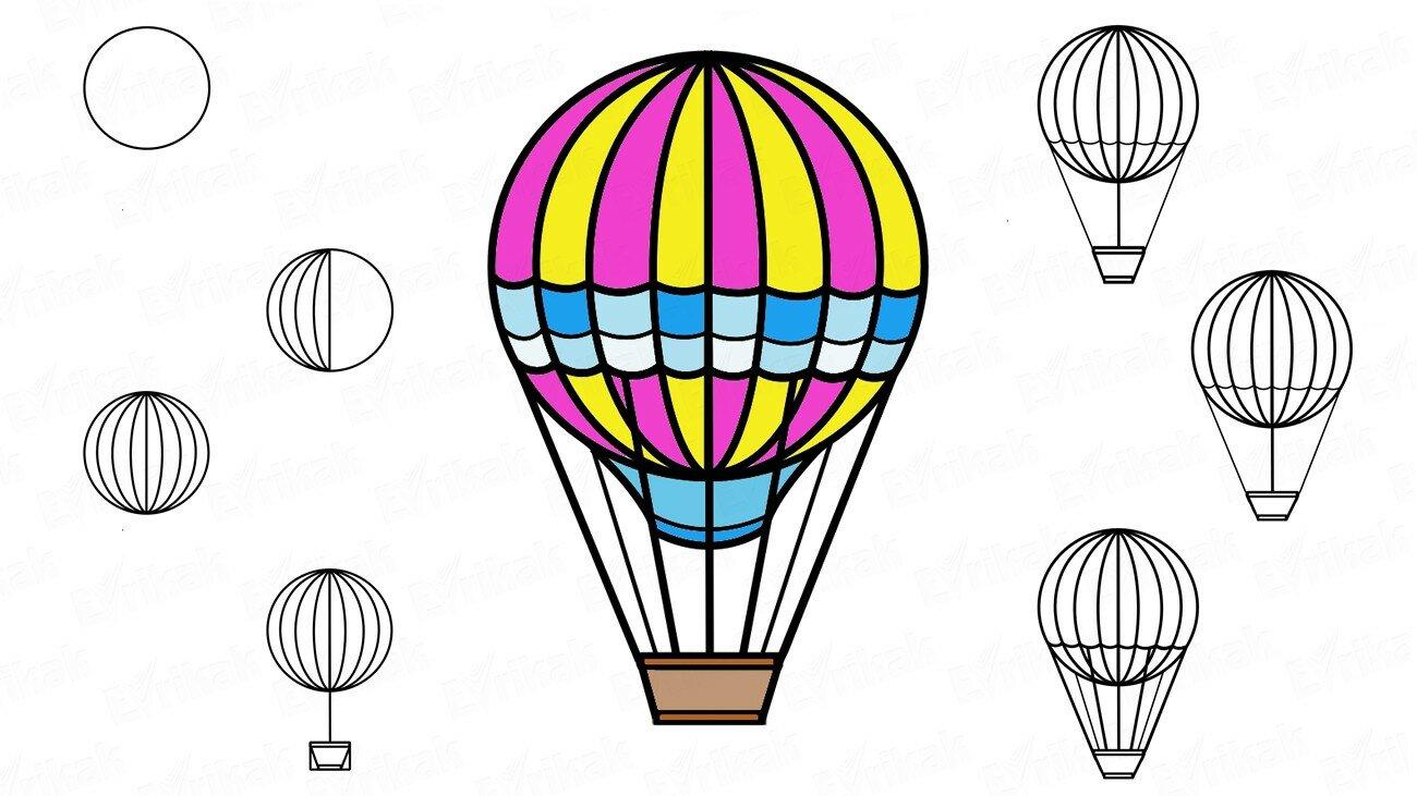 Apprenons à dessiner une montgolfière au crayon progressivement (+ Coloriage)