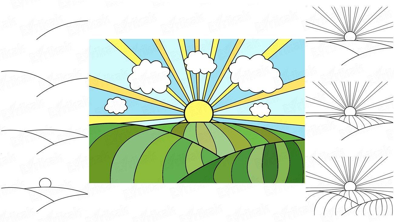 Apprenons à dessiner le ciel et un champ avec votre enfant (+ Coloriage) !
