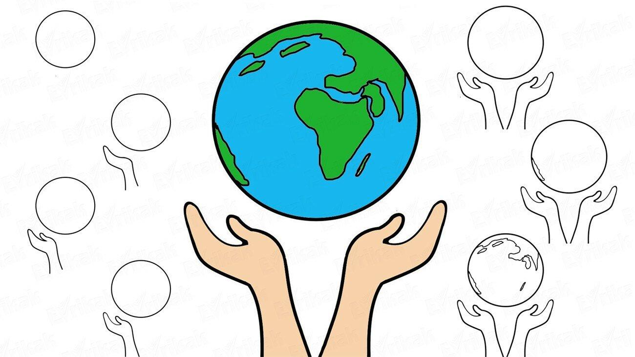 Comment dessiner le monde entre les paumes par étapes ?