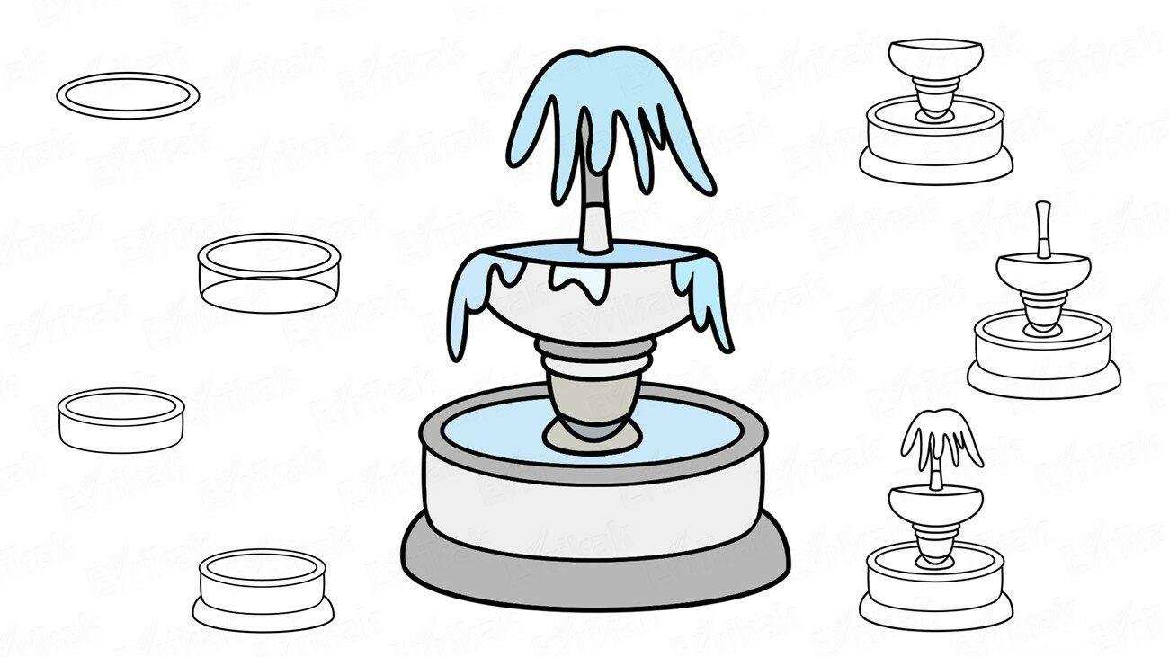 Apprenons à dessiner la fontaine, pas à pas, avec un enfant !