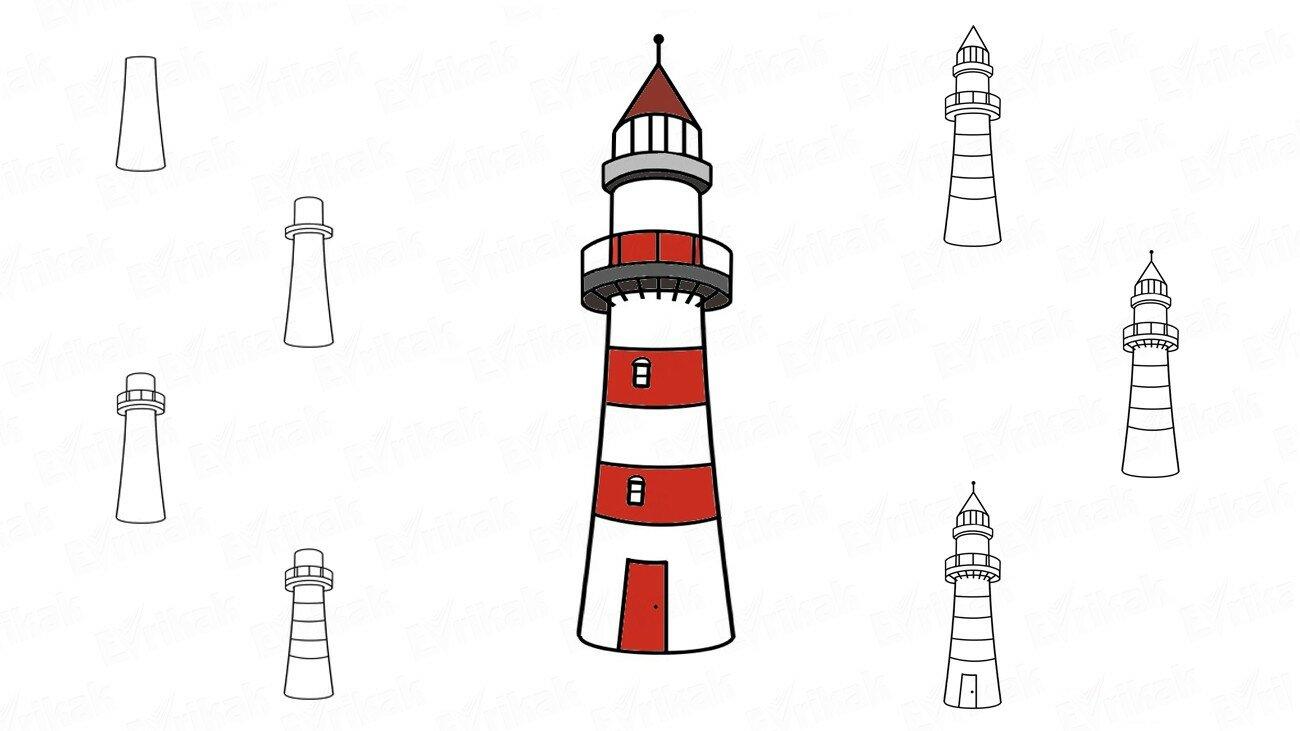Apprenons à dessiner un phare au crayon par étapes !