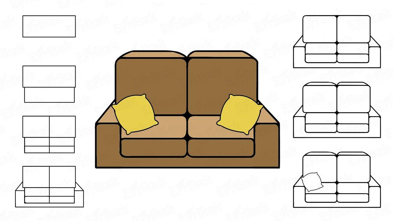 Apprenons à dessiner un canapé avec des coussins au crayon !